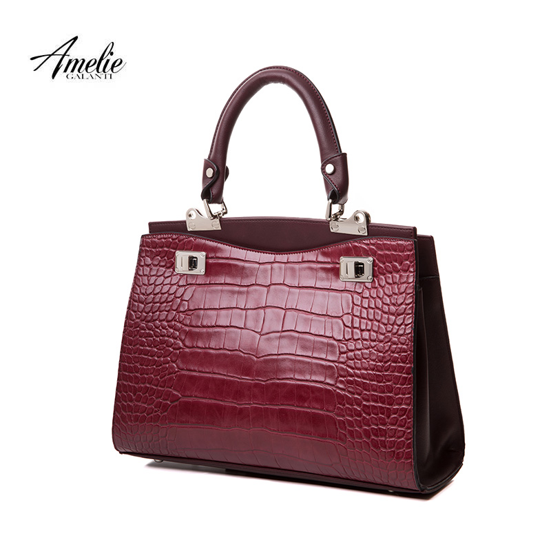 AMELIE GALANTI Vintage handbags new famous brands design totes bagsfor women serpentine hard fashion Interior compartment