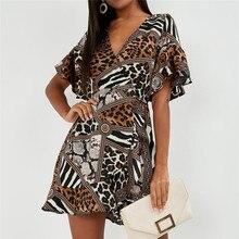 Summer Dress 2019 Women Sexy Leopard Chiffon Beach V-neck Ruffles Elegant Party Sundress fiesta