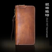 OLG.YAT Leather handmade wallet men purse retro handbags zipper Vegetable tanned leather wallets mens handbag Pure Cowhide bags