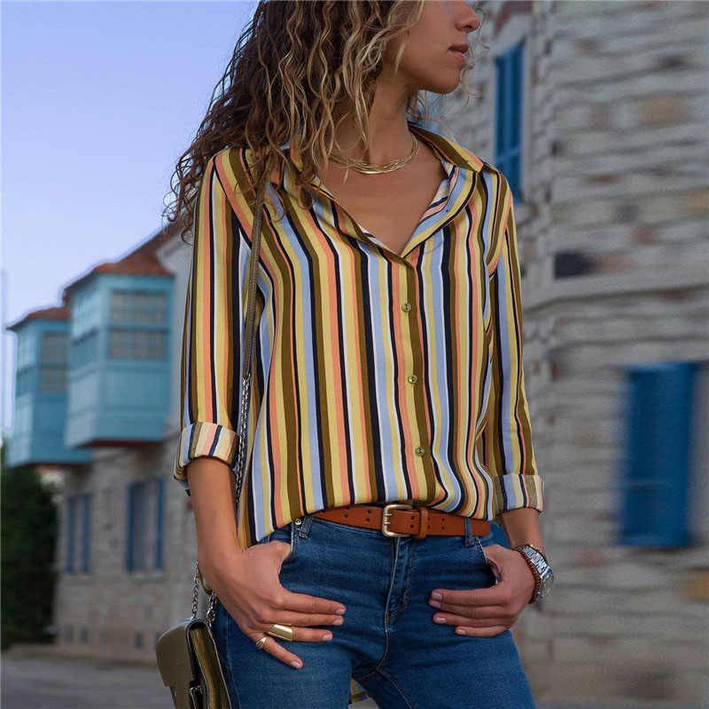 Women Printing Blouses Fashion Ladies Chic V Neck Button Long Sleeve Shirt Tops Blouse blusas mujer de moda 2019 Big Size Shirts