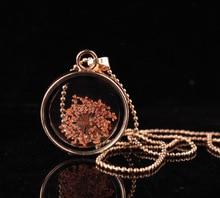 Forma Redonda De Cristal Colgante de La Flor Retro DIY hecho a mano flores secas de cristal de Joyería de Moda collar para las mujeres
