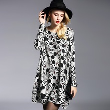 2017 Women Mickey Knitted Sweater Plus Size Long Sleeve Cartoon Print Loose Sweater 3Color