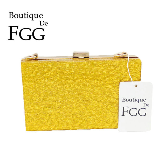 444a9a694 Boutique De FGG Garras Dia Moda Feminina Ouro Acrílico Bolsa de Festa À  Noite Jantar Bolsa
