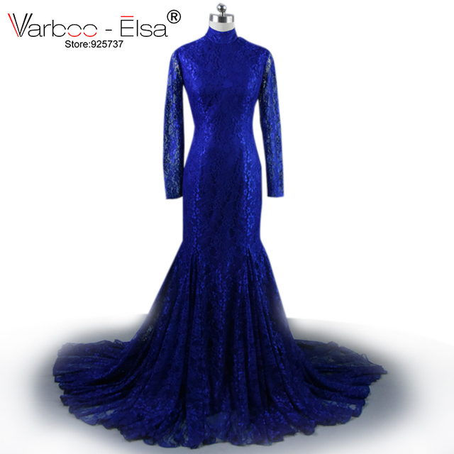 New african style Long Sleeve Lace navy blue Mermaid Prom Dresses 2018  Floor Length high neck Evening Gowns african prom Dress 8a1c5f454e92