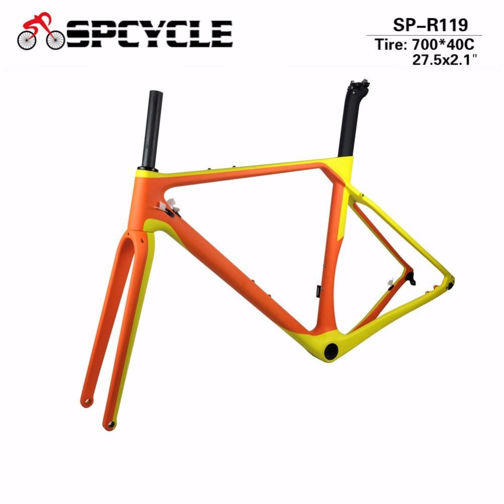 T1000 Gravel Bicycle Carbon Frames Cyclocross Carbon Frames,Disc Brake Bike Frames Wheels Space 700*40c Or 27.5*2.1