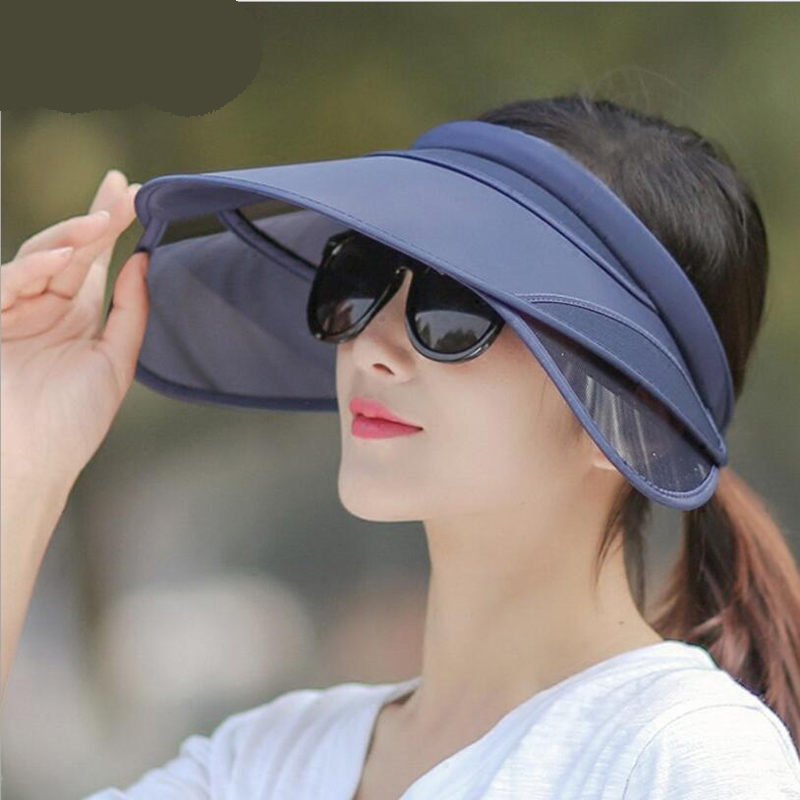 ccdd7b50ad8 Detail Feedback Questions about Visor 2018 New Retractable Visor Female  Summer Sun Empty Top Hat Riding UV Sun Hat Woman Beach Sun visor Hat on ...