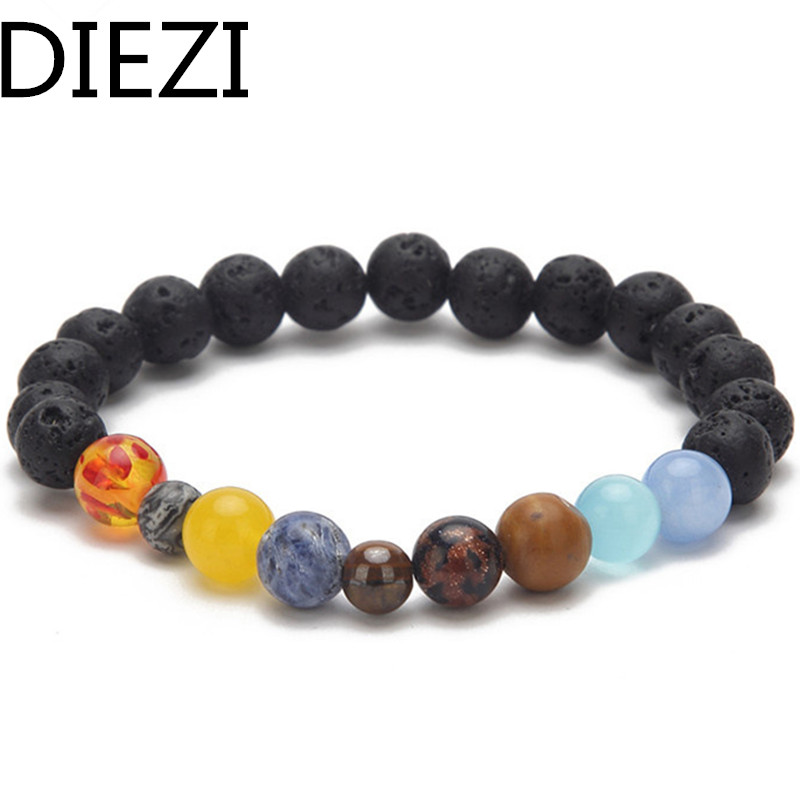 DIEZI 2018 New Men Universe Galaxy The Eight Planets In The Solar System Guardian Stars Stones Black Lava Beads Women Bracelets