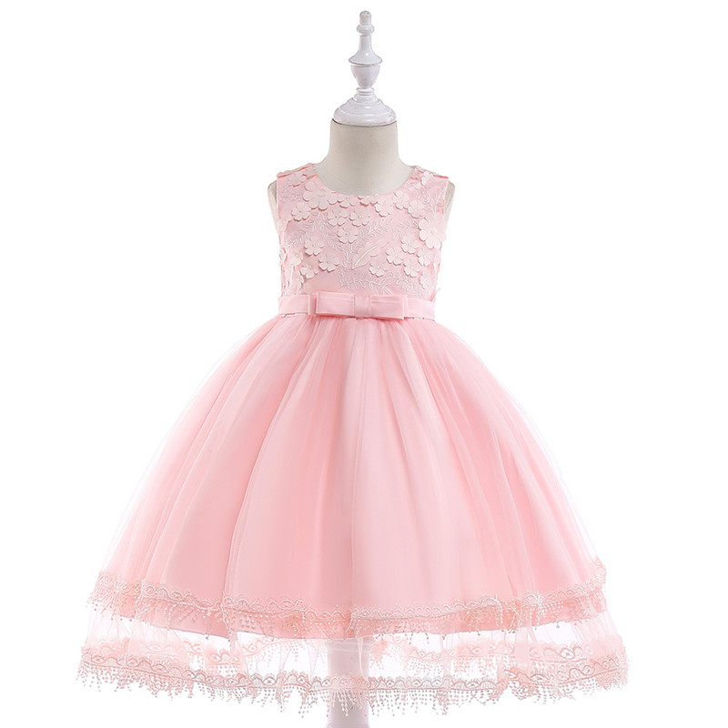 First Communion Dresses for Girls Appliques Lace Mesh Flower Girls Dress Bows Tulle Ball Gown Pageant Clothes for Little Girls