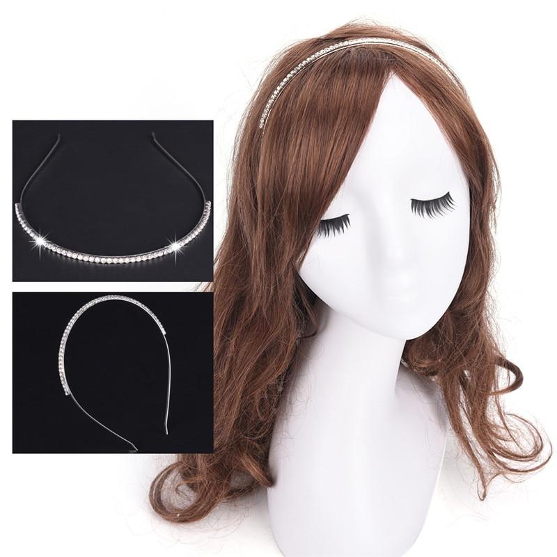 女性のシルバークリスタルラインストーンヘアバンドカチューシャヘア摩耗ファッションアクセサリー