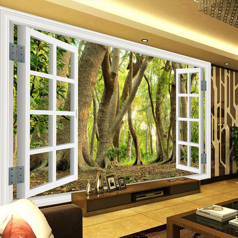 Custom Wall Mural Large Wall Painting Wallpaper 3D Window Green Forest Scenery Backdrop Wall Decorations Wallpaper Living Room