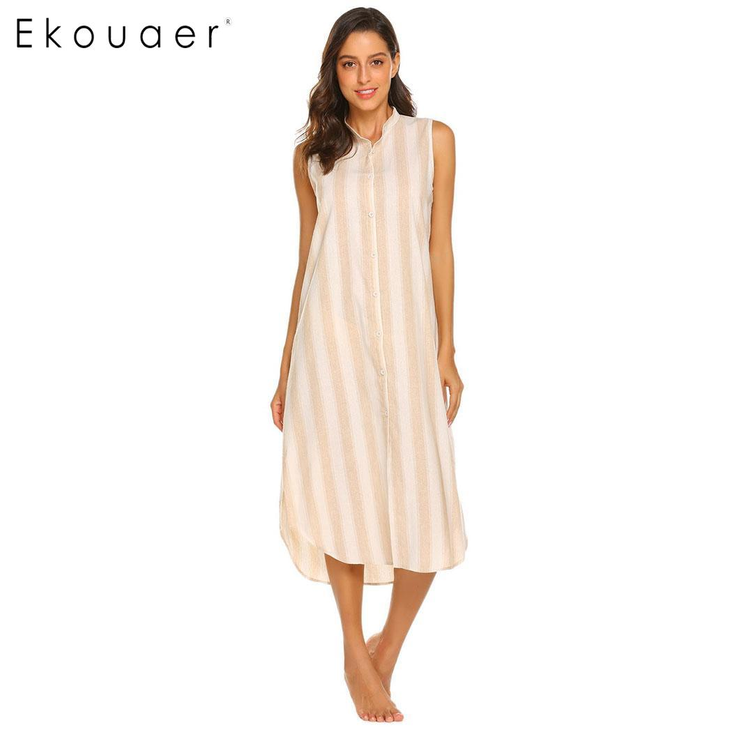 Ekouaer Cotton Nightgown Sleepshirts Women Striped Nightdress Sleepwear Front Button V Neck Sleeveless Nightwear Casual Nightie