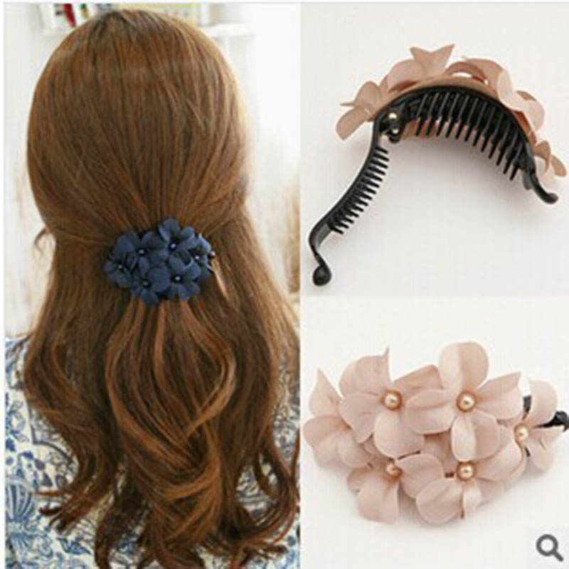 Handmade Fabric Flower Hairpins For Women Girls Sweet 3D Floral Hair Accessories Beauty Female Hair Clips Hairgirps