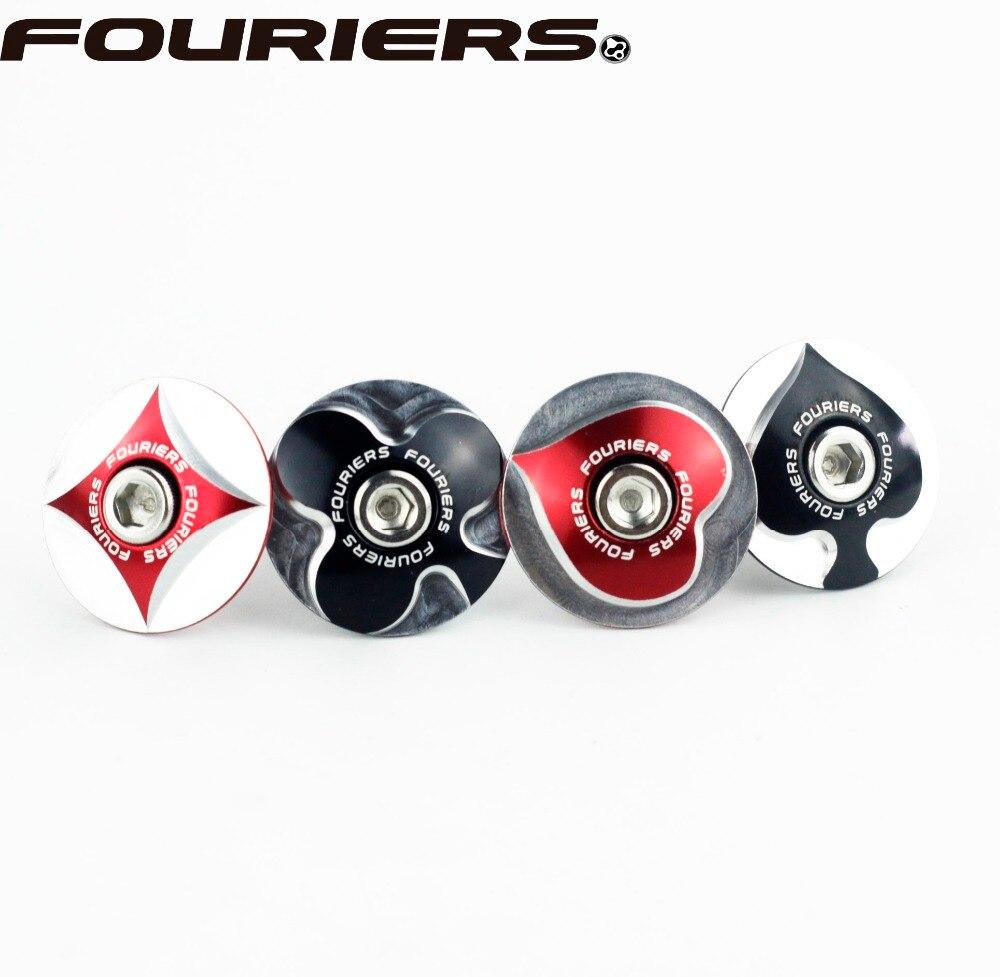 Fouriers TC-S00 CNC Bike Stem Top Cap Headset Cover 28.6mm 1 1/8 Steerer Poker Shape Balck Red