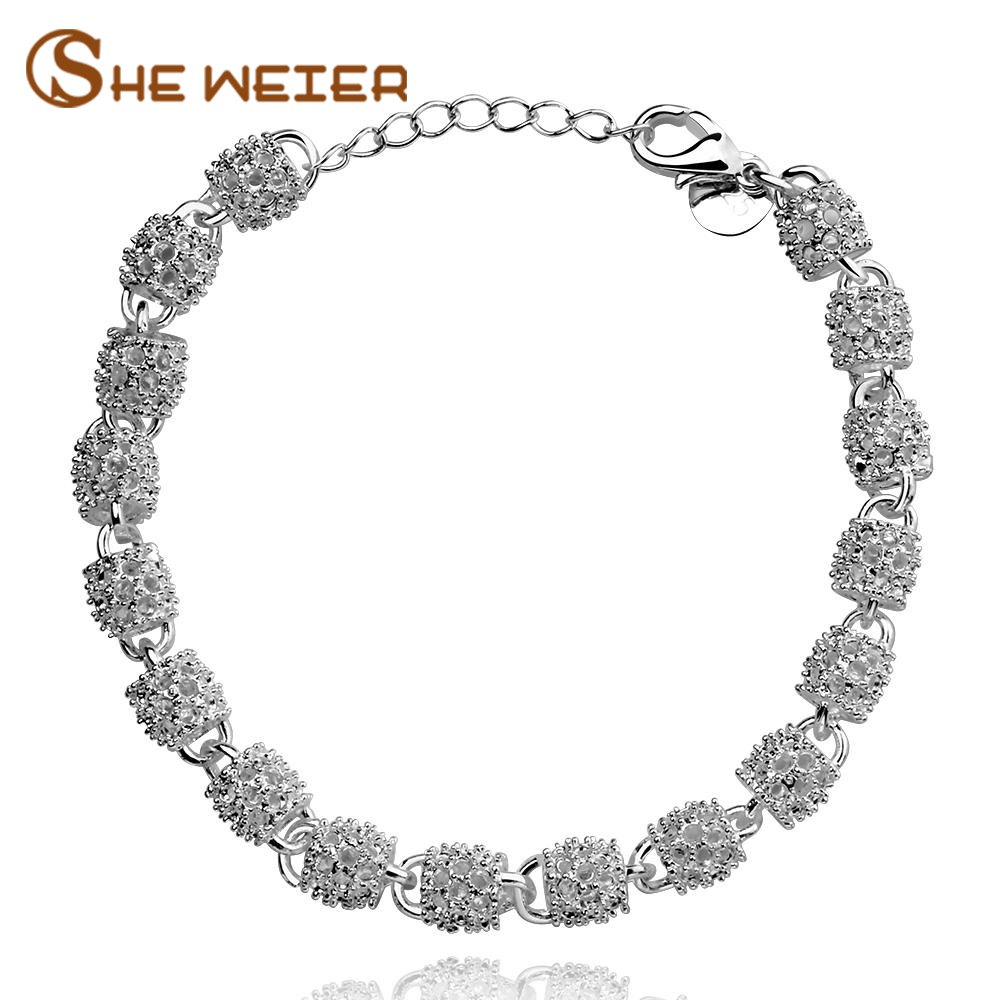 SHE WEIER friendship bracelets & bangles for girls charms women chain link bracelet silver femme jewelry accessories braslet