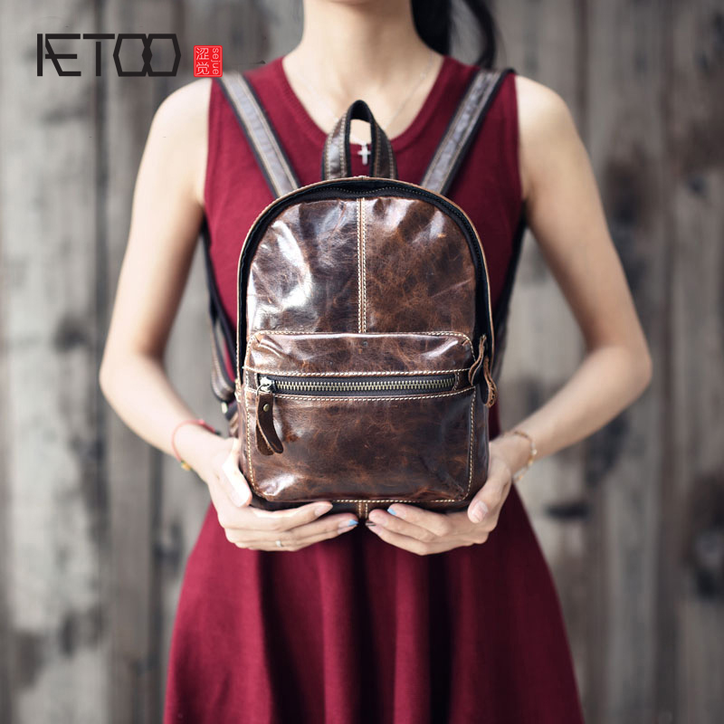 AETOO Retro first layer of leather mini shoulder bag leather bag female bag anti - theft design mini small backpack summer qiaobao 2018 new korean version of the first layer of women s leather packet messenger bag female shoulder diagonal cross bag