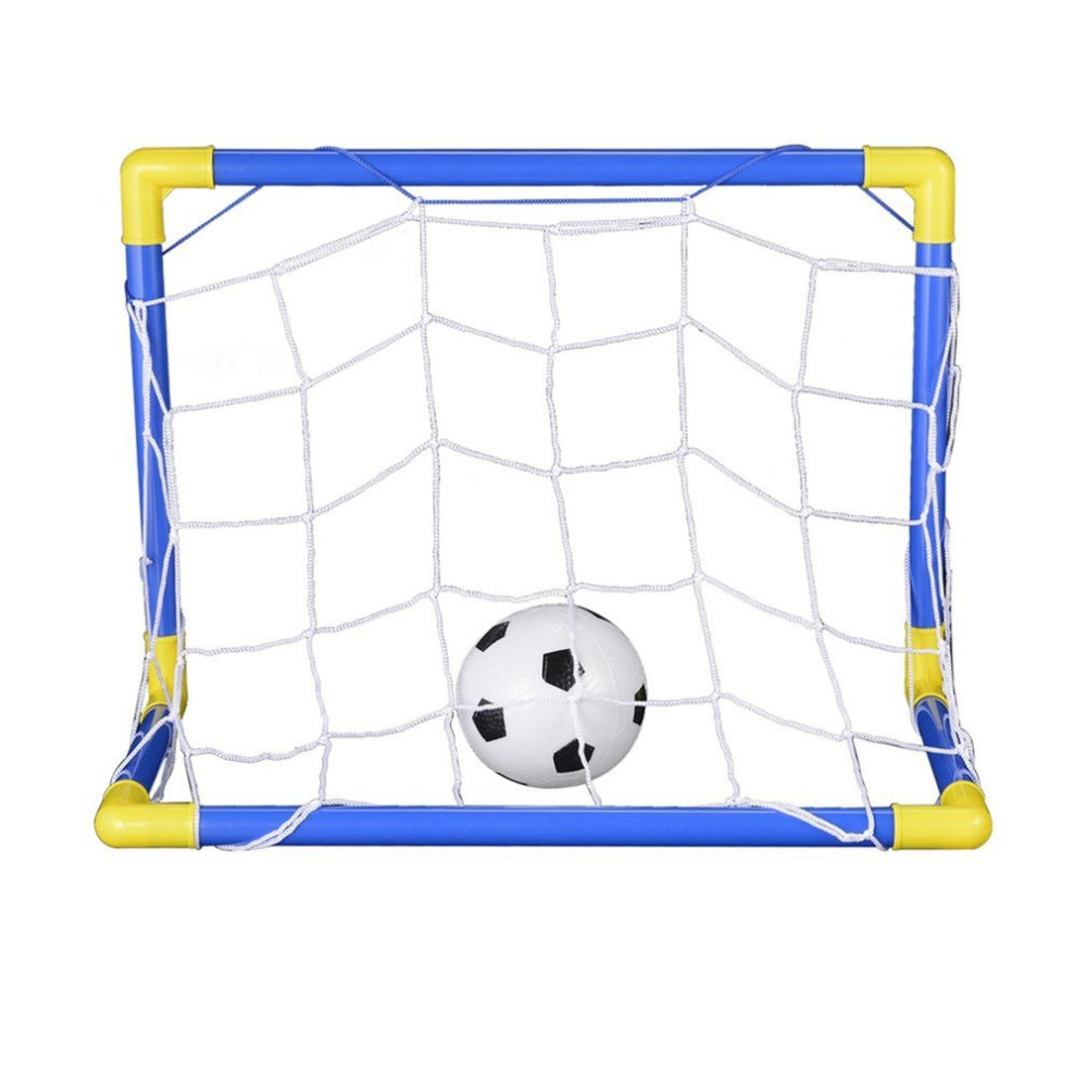 447mm Folding Mini Football Soccer Goal Post Net Set with Pump Kids Sport Indoor Outdoor Games Toys Child Birthday Gift Plastic(China)