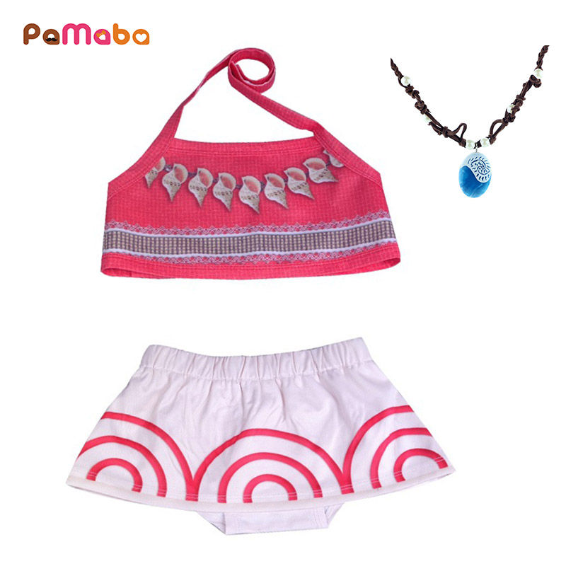 PaMaBa Baby Girls Moana Swimsuits Infant Toddler 2Pcs Summer Beach Clothing Vaiana Bikini for Children Baby Bath Suit Outfit