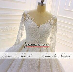 Image 4 - 2020 Luxury Shinny real photo Wedding Dress Three Quarter Sleeve Lace  beading Wedding Dress