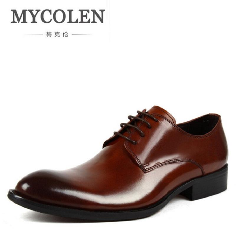 MYCOLEN Brand Pointed Toe Men's Oxfords Formal Shoes Leather Men Dress Shoes Business Men Flats Wedding Shoes tenis masculinos pjcmg spring autumn men s genuine leather pointed toe slip on flats dress oxfords business office wedding for men flats shoes