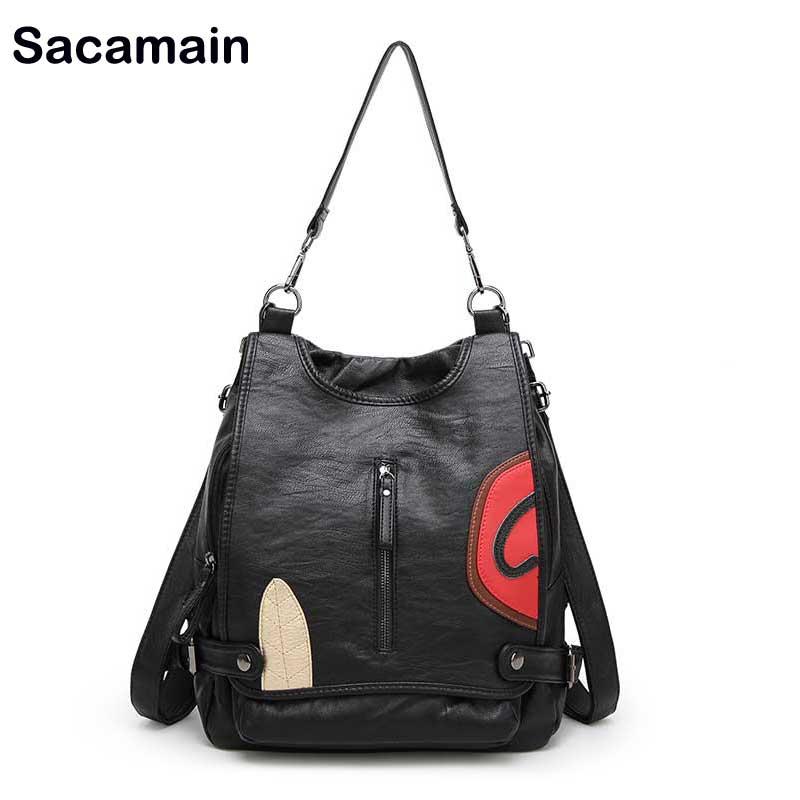 Sac a main Backpacks For Girls Korean Style Backpack 11 Paste Woman Pack back Strap Shoulder Genuine Leather Backpack Back Bag