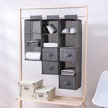 2ba4d4ea3 5 celdas de tela de lino zapatos organizador de ropa bolsillos soporte  armario bolsa colgante bolsa de almacenamiento ropa organ.