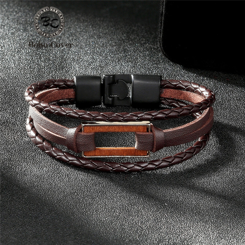 Brand Trendy rectangle Round Wood accessories bracelets for women men Jewelry Multi-layer Leather charms Bracelet & Bangle femme