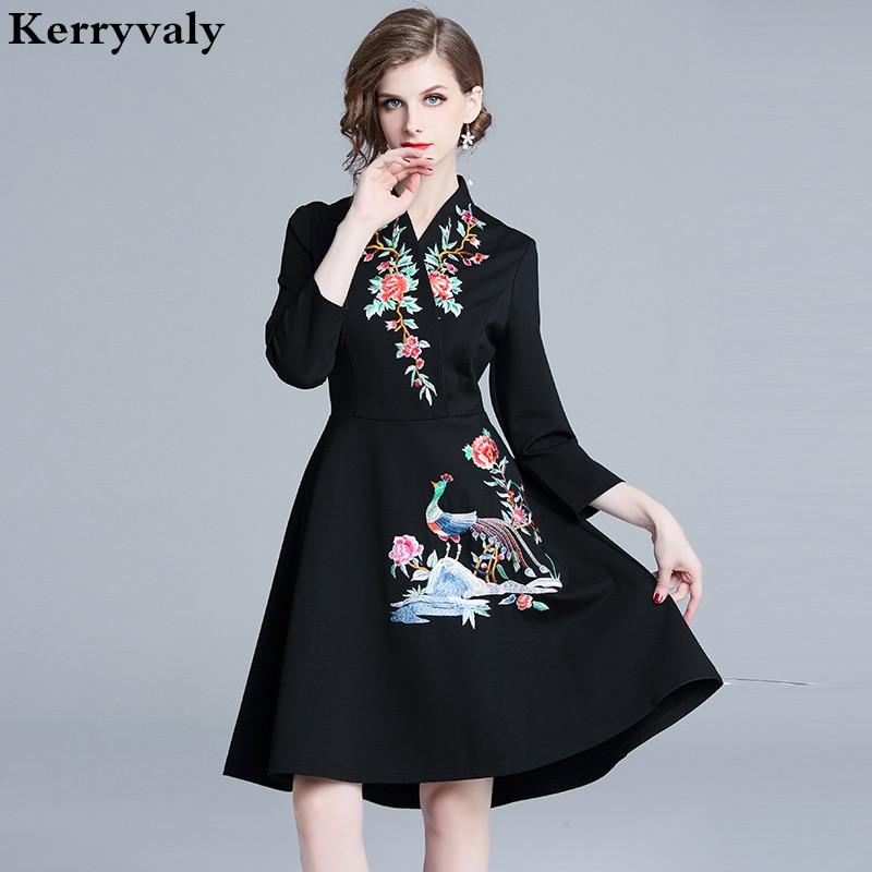 6bf367ee696 Женское винтажное Цветочное платье с вышивкой Robe Femme Hiver 2019 Украина  осень черное миди вечерние платье