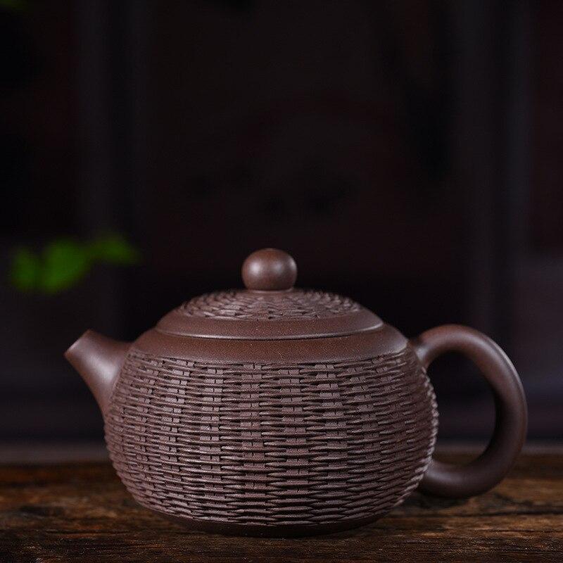240 мл Исин фиолетовый глина Чай горшок ручной фиолетовый грязи Бамбук ткачество Xishi горшок дома Винтаж Drinkware Zisha Чай чайник книги по искусств