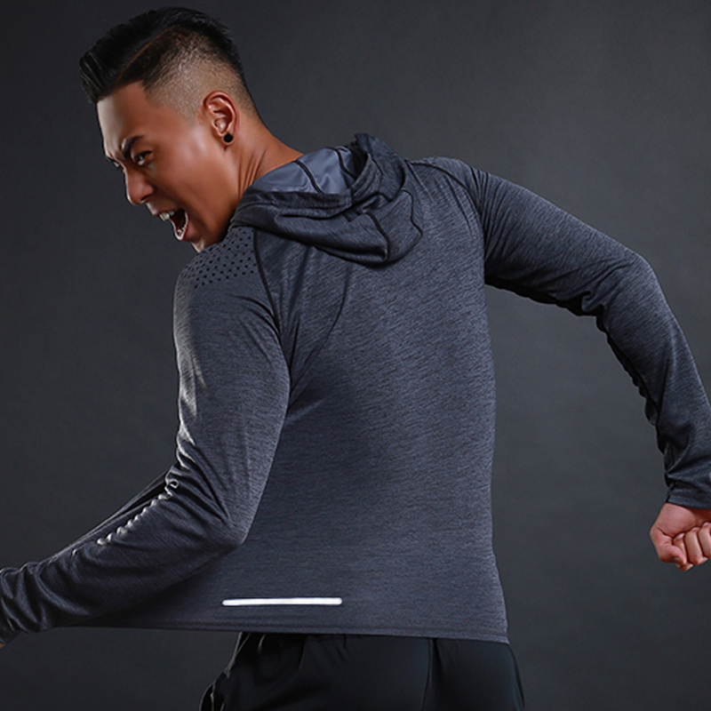 Image 4 - Running T shirt Men Long Sleeve Hooded Rashgard Thin Gym Shirts Fitness Training T shirt Quick Dry Breathable Sports Clothing-in Running T-Shirts from Sports & Entertainment on AliExpress