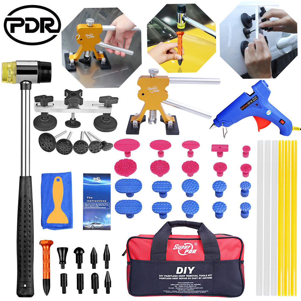 PDR Tools kit Dent Removal Paintless Dent Repair Tools Pulling Bridge Dent Puller glue gun rubber hammer pdr hand tool set pdr tools set dent removal tool paintless dent repair tools dent puller kit dent lifter 10x glue tabs pulling bridge herramentas