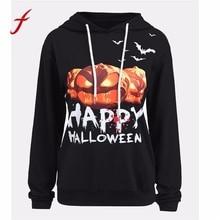 FEITONG 2017 Hoodies Sweatshirt Fashion Women Halloween Pumpkin Print Long Sleeve sweatshirt Pullover Tops High Quality Hoody