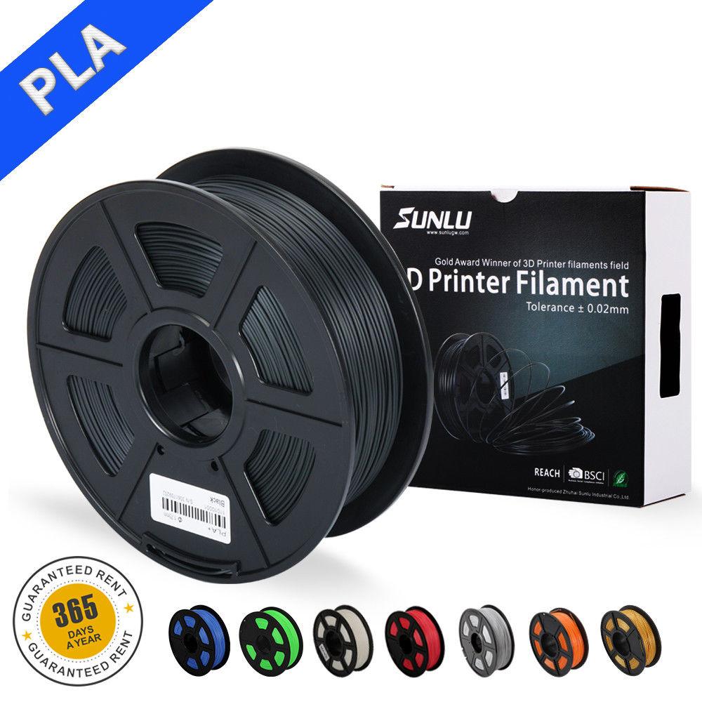 new DIY SUNLU PLA 3D Printer Filament 1 75mm 1KG 2 2lb Spool Black PLA Printer