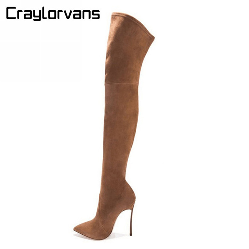 Craylorvans 2017 NEW Autumn Winter Women Boots Stretch Suede Thigh High Boots Over the Knee Boots High Heels Shoes Woman Sapatos joyhopy autumn winter over the knee boots women wedges platform thigh high boots rivet woman high heel thin leg stretch boots