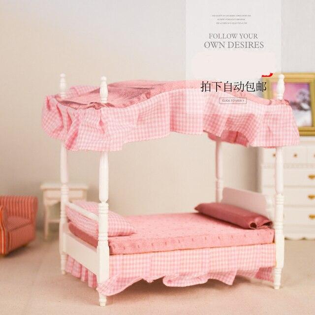 1 12 dollhouse mobili in legno giocattolo rosa camera da letto in miniatura di simulazione - Letto da principessa ...