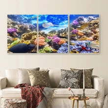 Laeacco 3 Panel Underwater World Canvas Posters and Prints Abstract Retro Wall Art Classic Pictures For Home Living Room Decor