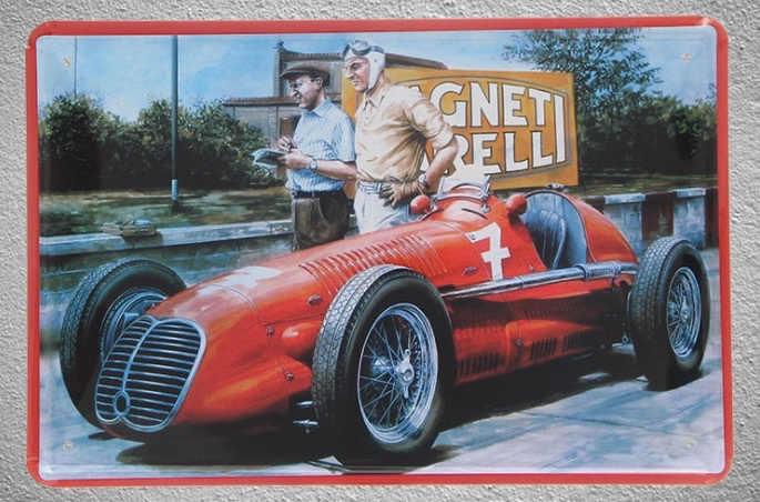 1 قطعة سيارة رياضية F1 رالي الأحمر سيارة القصدير لوحة تسجيل جدار رجل كهف الديكور dekor ملصق فني المنزل المعادن خمر