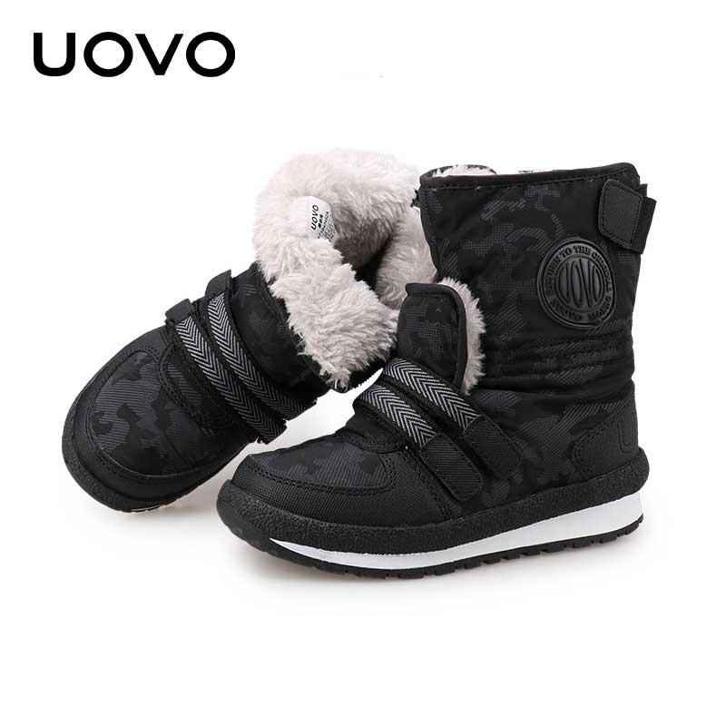 где купить Thick Kids Winter Boots Uovo Brand Classical Boys Girls Snow Boots Mid-Calf Slip-resistant Shoes Footwear For Russian Size 30-38 по лучшей цене
