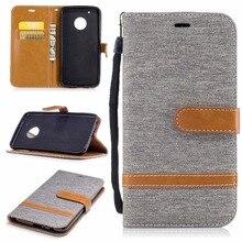 Здесь можно купить  Phone Flip Leather Case For Motorola Moto G5 Wallet Stand Cover For Moto G4 G5 Plus Stylish Simple Canvas Fabric Phone bag Coque