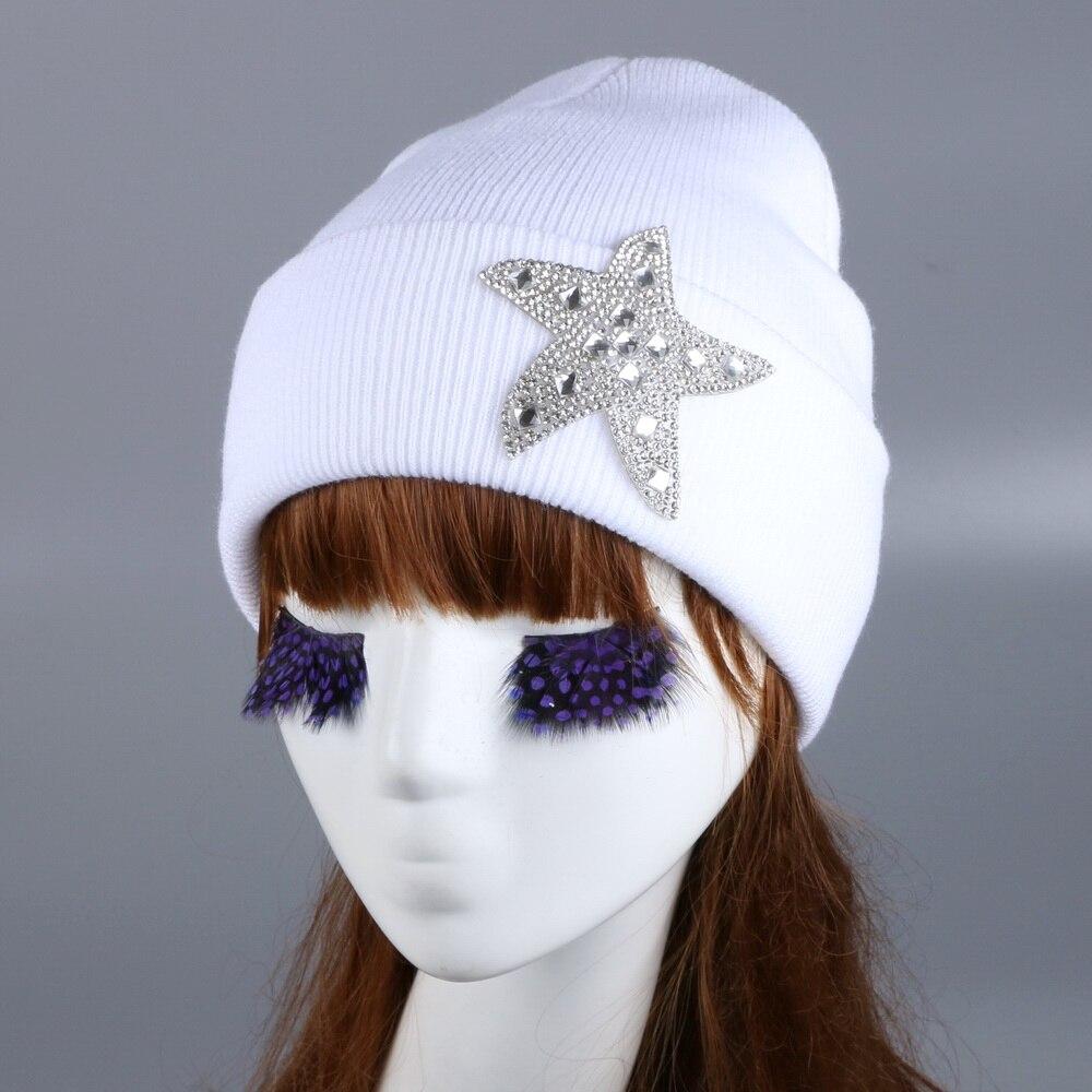 women cheap promotion beauty gorro skullies custom design rhinestone luxury winter hats for woman girl brand outdoor beanies skullies