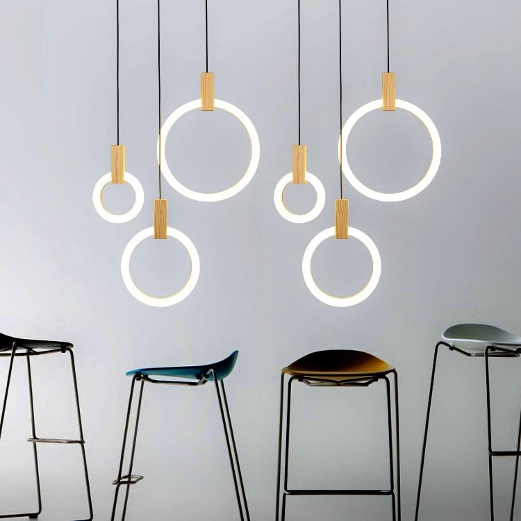Moderno LED lampadari di Legno Nordic soggiorno lampada a sospensione  camera da letto apparecchi di scala anello di appendere le luci di  illuminazione ...
