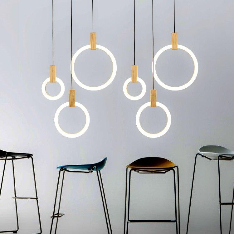 moderno led lustres de madeira nordic sala estar suspenso lampada quarto luminarias iluminacao da escada anel