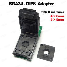 BGA24 to DIP8 Adapters for RT809H RT809F TL866CS TL866A EZP2010 EZP2013 Programmer +2pcs Chip Frame IC Size 6*4mm + 5*5mm Matrix