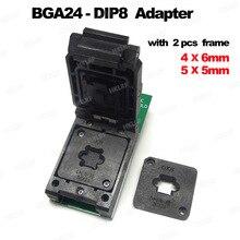 محولات BGA24 to DIP8 لـ RT809H RT809F TL866CS TL866A EZP2010 EZP2013 مبرمج + 2 قطعة إطار شريحة IC مقاس 6*4 مللي متر + 5*5 مللي متر مصفوفة