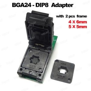 Image 1 - محولات BGA24 to DIP8 لـ RT809H RT809F TL866CS TL866A EZP2010 EZP2013 مبرمج + 2 قطعة إطار شريحة IC مقاس 6*4 مللي متر + 5*5 مللي متر مصفوفة