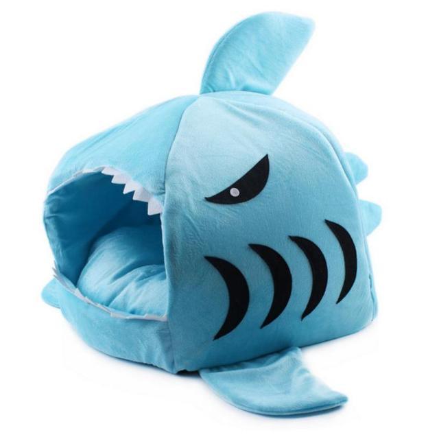 Hot!2 Size Pet Products Warm Soft Dog House Pet Sleeping Bag Shark Dog Kennel Cat Bed Cat House 2017 Popular Jun6