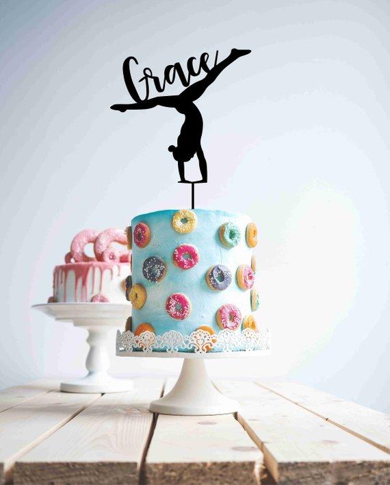Personalised Gymnast Cake Topper Gymnastics Wood Cake ...