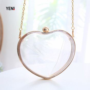 Feminina Fashion Brand Cute Heart-shaped Acrylic Box Clutch Hard Wallet Clear Women Handbag Mini Vintage Evening Bag Crossbody