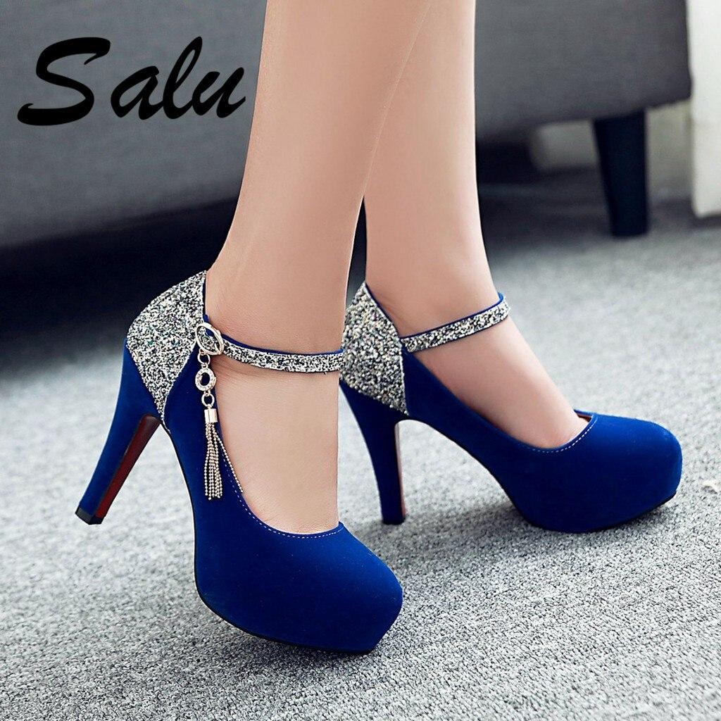 Salu נשים משאבות אופנה קלאסי פטנט עור עקבים גבוהים נעלי חד ראש Paltform חתונה נשים שמלת נעליים בתוספת גודל 34 -43