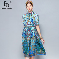 LD LINDA DELLA New 2018 Fashion Runway Designer Summer Dress Women's Bow Collar Animal Floral Print Pleated Vintage Dress