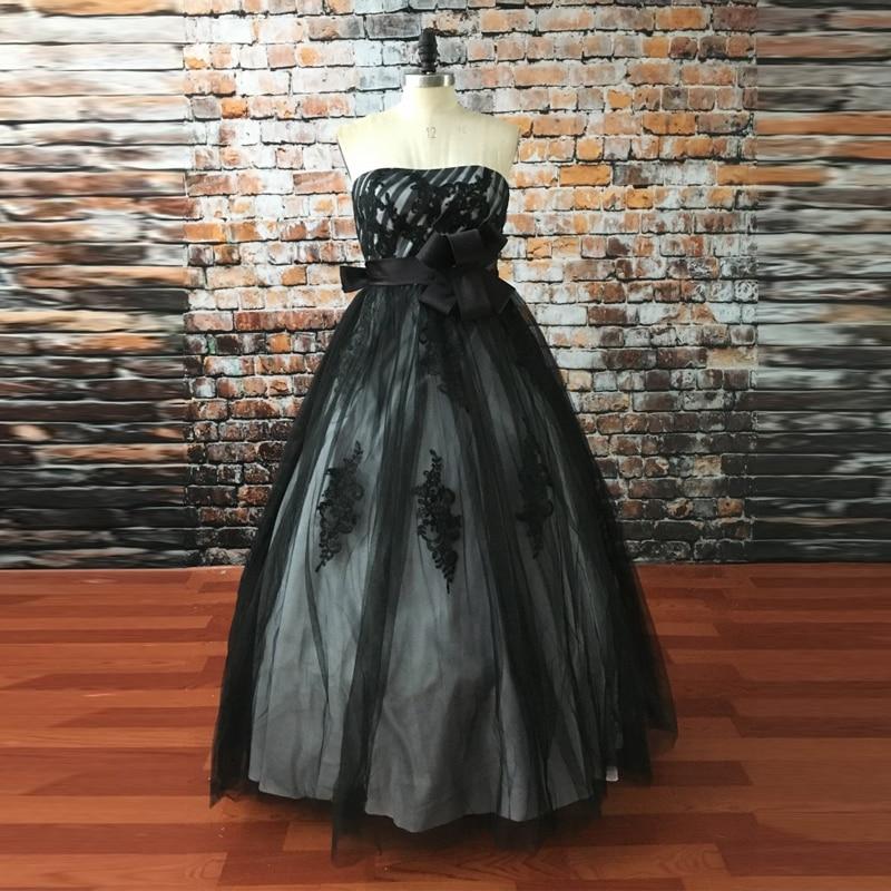 Black Gothic Ball Gown Wedding Dress Strapless Vestidos De
